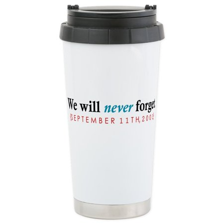 CafePress - Never Forget Stainless Steel Travel Mug - Stainless Steel Travel Mug, Insulated 16 oz. Coffee Tumbler (Stainless Steel Nyjer Feeder)
