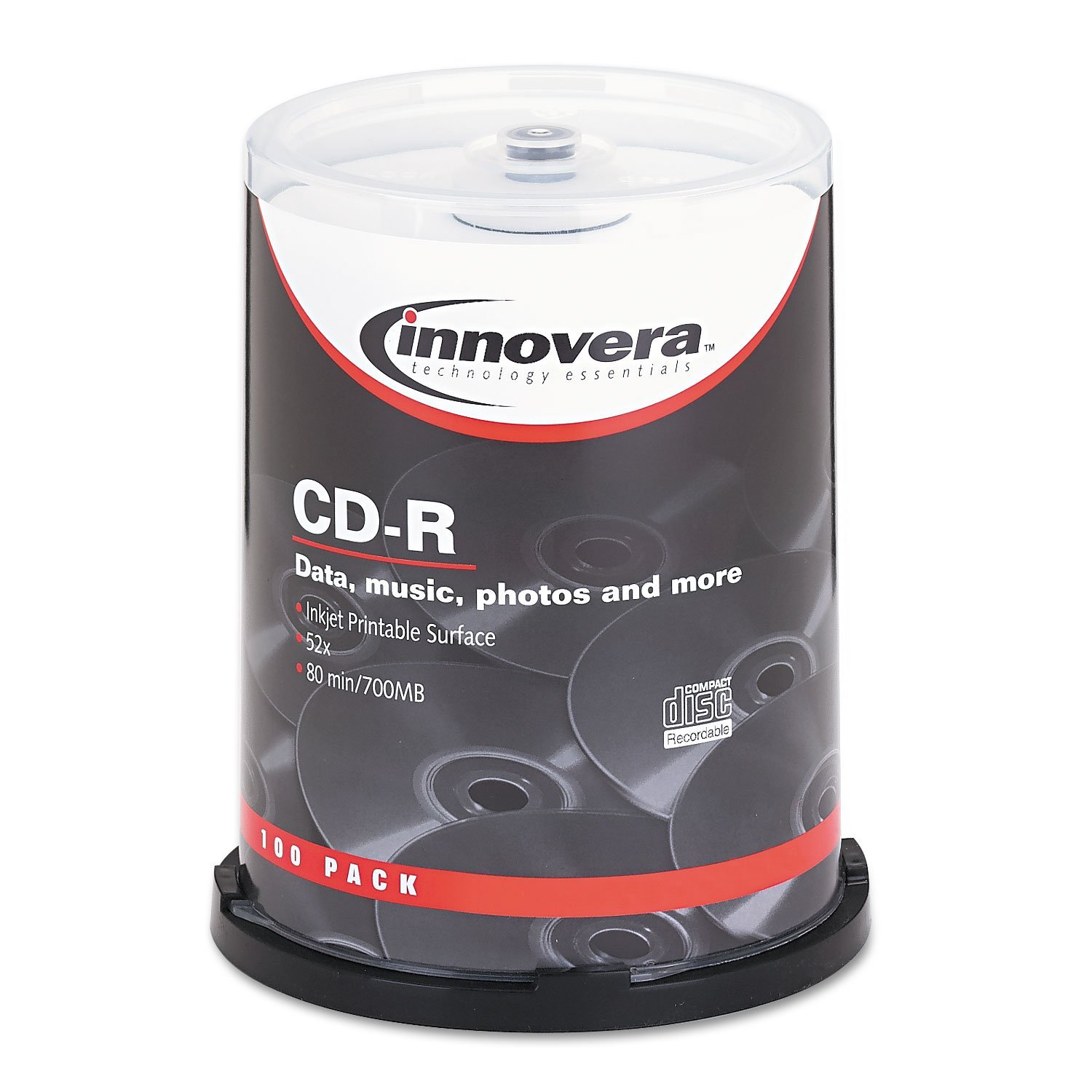 77815 CD-R Discs Hub Printable 700MB/80min 52x Spindle Matte White 100/Pack, Sold as 100/Pack. By Innovera