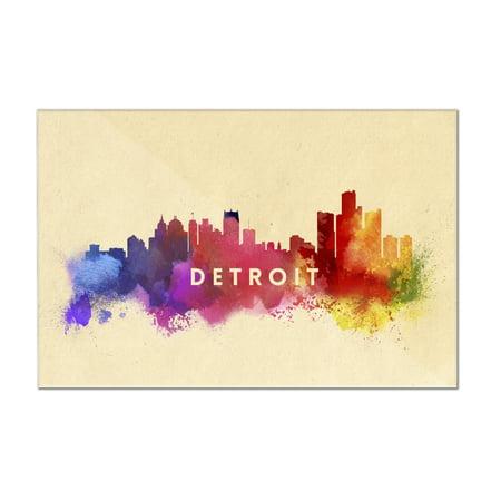 Detroit  Michigan   Skyline Abstract   Lantern Press Artwork  12X8 Acrylic Wall Art Gallery Quality
