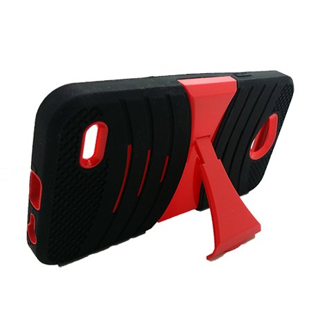 Phone Case for ZTE Zfive G LTE (Z557BL), Zfive C (Z558VL) Heavy Duty Hard  Armor Cover Case Kickstand (Black-Red Stand)