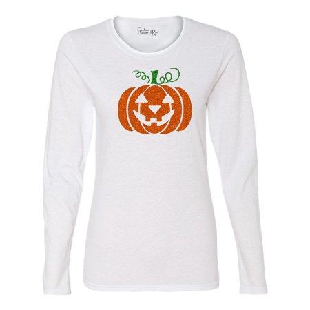 Glitter Jack O' Lantern Pumpkin Halloween Costume Womens Long Sleeve T-Shirt Top (Glitter Halloween Shirts)
