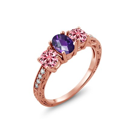 Rose Gold Plated Silver Ring Checkerboard Amethyst Pink Moissanite 1.00ct DEW