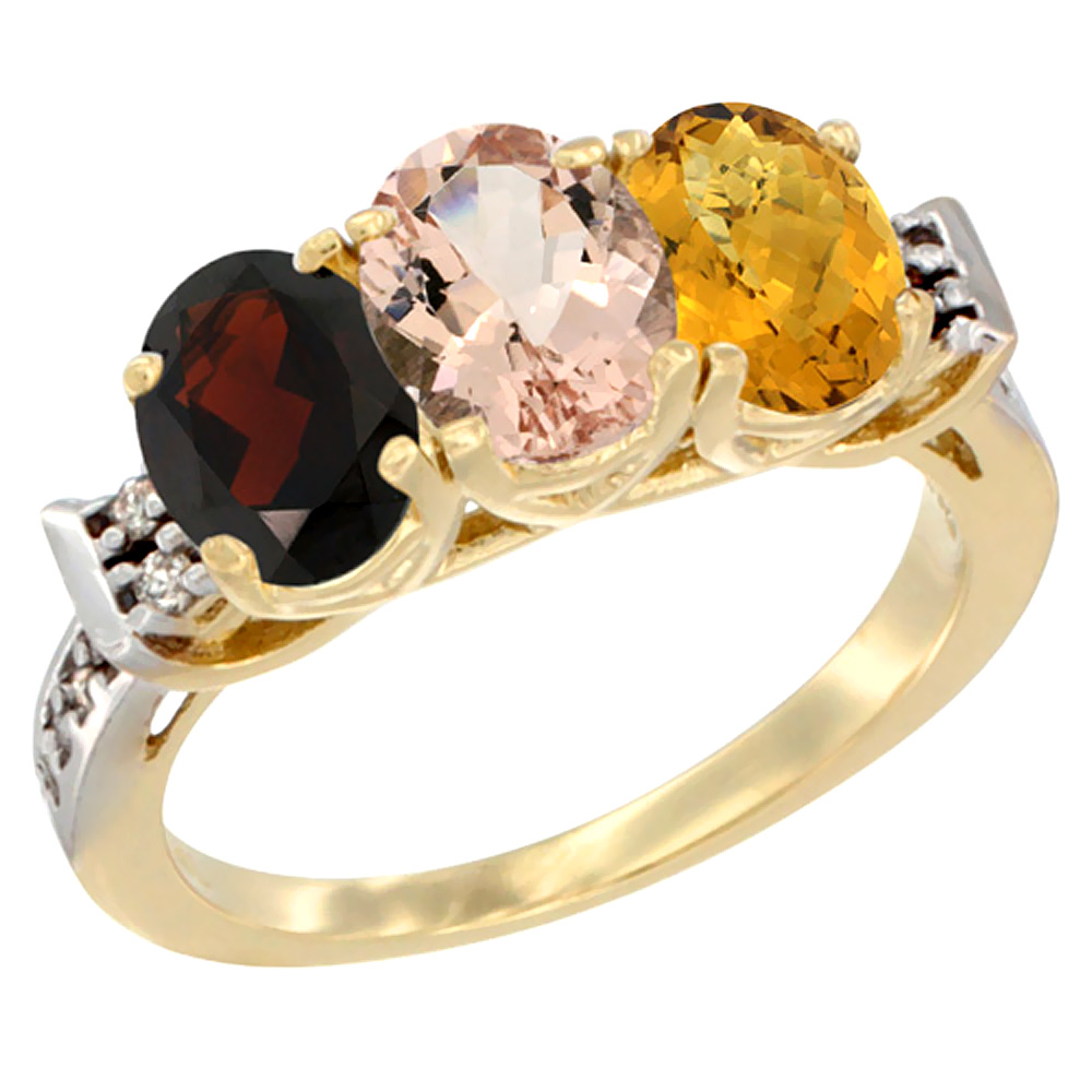 10K Yellow Gold Natural Garnet, Morganite & Whisky Quartz Ring 3-Stone Oval 7x5 mm Diamond Accent, sizes 5 10 by WorldJewels