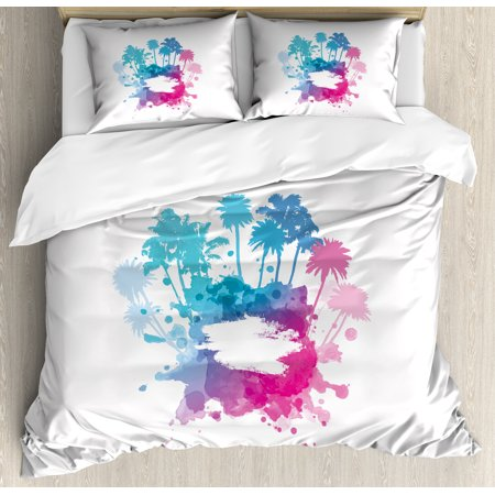 Beach Queen Size Duvet Cover Set, Palm Trees with Color Splashes Abstract Grunge Illustration Tropical Vacation, Decorative 3 Piece Bedding Set with 2 Pillow Shams, Blue Pink White, by Ambesonne (Queen Padme)
