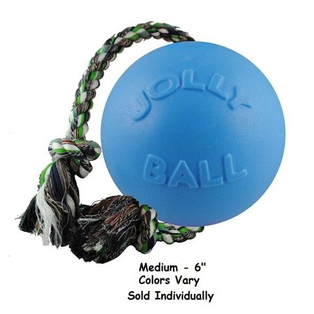 Jolly Ball Romp-N-Roll Dog Toys Rope Floating Water Tug Colors Vary Choose Size (Medium - 6