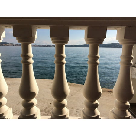 Canvas Print Stone Tourism Mediterranean View House Balcony Stretched Canvas 10 x 14