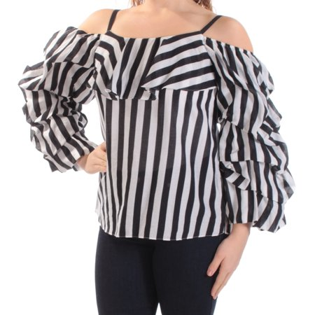 Square Neck Shirts Tops - INC Womens Black Cold Shoulder Ruffled Striped Pouf Square Neck Top  Size: M