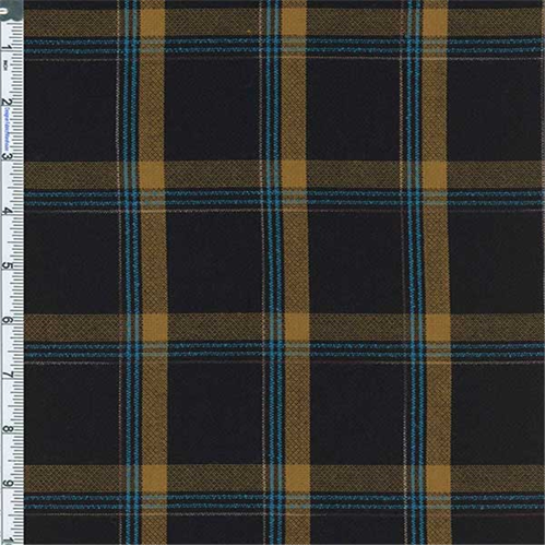 Black/Mustard Charles Plaid Dobby Weave, Fabric By the Yard