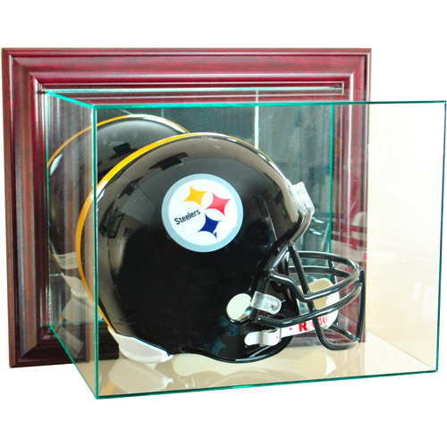 Perfect Cases Wall-Mounted Football Helmet Display Case, Cherry Finish