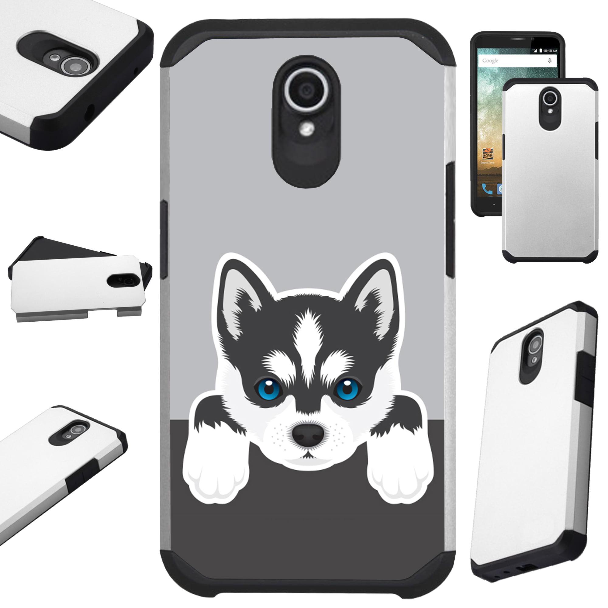 For Alcatel idealXTRA | 1X Evolve (2018) | TCL LX Phone Case Hybrid Fusion Cover (Cute Dog Siberian Husky)