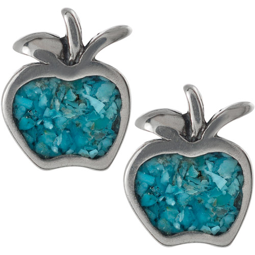 Brinley Co. Genuine Turquoise Sterling Silver Apple Stud Earrings