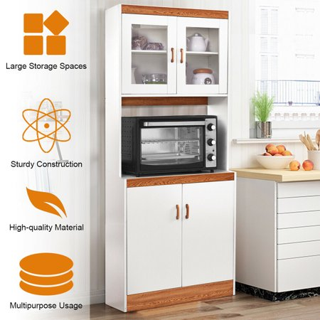 Gymax Tall Microwave Cart Stand Kitchen Storage Cabinet Shelves Pantry Cupboard White - image 8 of 10