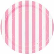 "7"" Striped Paper Dessert Plates, Light Pink, 8ct"