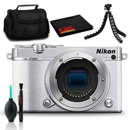 Nikon 1 J5 Mirrorless Digital Camera (White) with Case and Tabletop Tripod