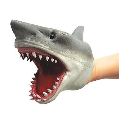 Shark Hand Puppet (Rubber) - Puppet by Schylling - Great White Shark Toys