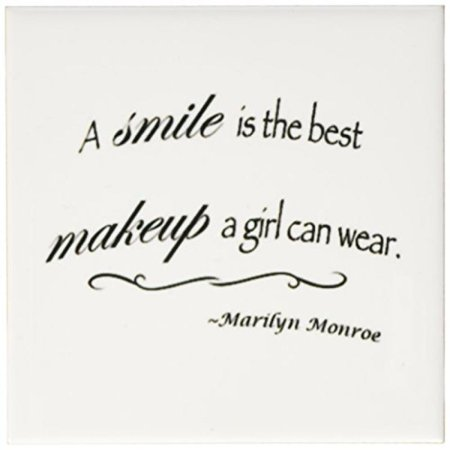 3dRose A smile is the best makeup a girl can wear, Marilyn Monroe quote, Ceramic Tile Coasters, set of 4 (The Best Girls)