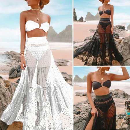 SUNSIOM Sexy Women Ladies Polka Dots Mesh Skirt See-through Beach Wear Long Maxi Dress Wear Polka Dots