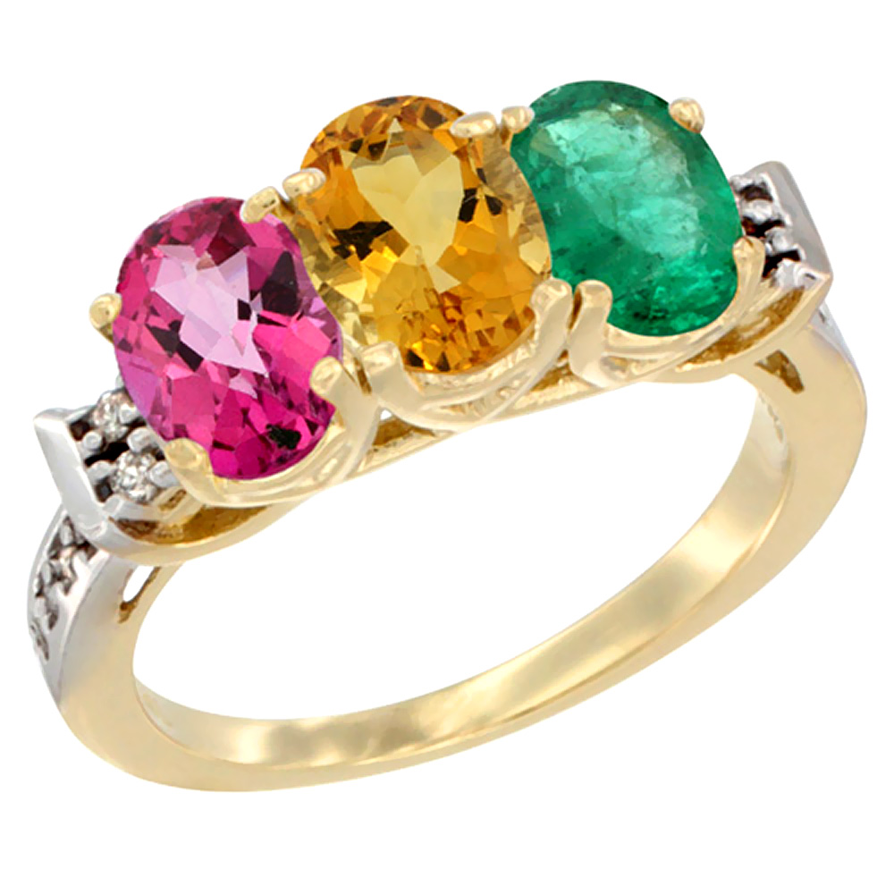 10K Yellow Gold Natural Pink Topaz, Citrine & Emerald Ring 3-Stone Oval 7x5 mm Diamond Accent, sizes 5 10 by WorldJewels