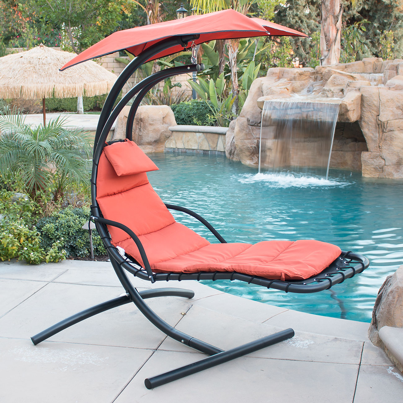 Belleze Hanging Chaise Lounger Chair Arc Stand Air Porch Swing Hammock Canopy Orange