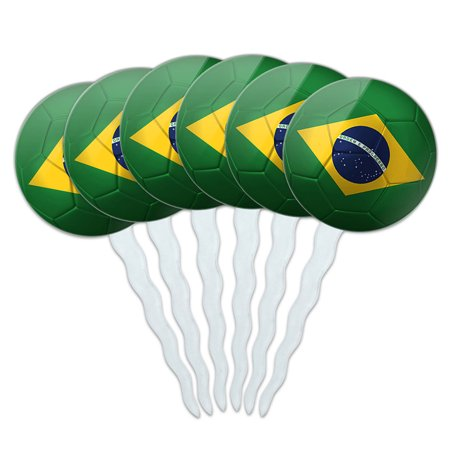 Brazil Flag Soccer Ball Futbol Football Cupcake Picks Toppers - Set of 6 - Soccer Cupcake Toppers