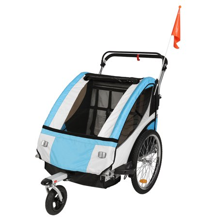 Clevr 3-in-1 Double Bicycle Baby Child Trailer Jogger/Stroller Folding, Light (Best Bike Trailer Stroller)