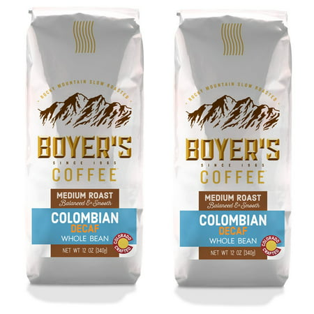 Boyer's Coffee Colombian Decaf Coffee, Whole Bean, Medium Roast, 2-Pack (1.5lb) (Decaf Whole Bean)