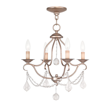 Mini Chandeliers 4 Light With Hand Painted Antique Silver Leaf size 18 in 240 Watts - World of (Silver Four Leaf)