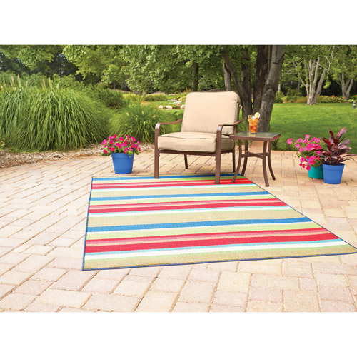 Mainstays Indoor/Outdoor Rug, Multi Stripe, Multiple Sizes