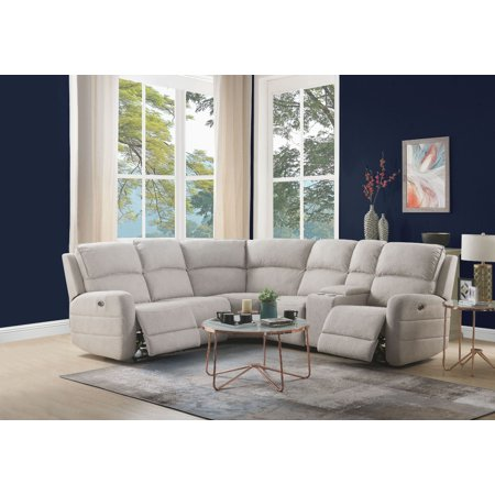 Acme Olwen Power Motion Sectional Sofa with USB Power Dock in Cream Nubuck
