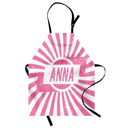 Anna Apron Retro Style Girls Name Design with Striped Backdrop and Grunge Appearance, Unisex Kitchen Bib Apron with Adjustable Neck for Cooking Baking Gardening, Pale Pink and White, by (Anna B Design)