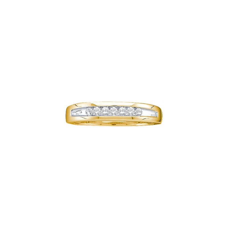 14K Yellow Gold 0.25ctw Shiny Channel Set Diamond Mens Wedding Band Ring