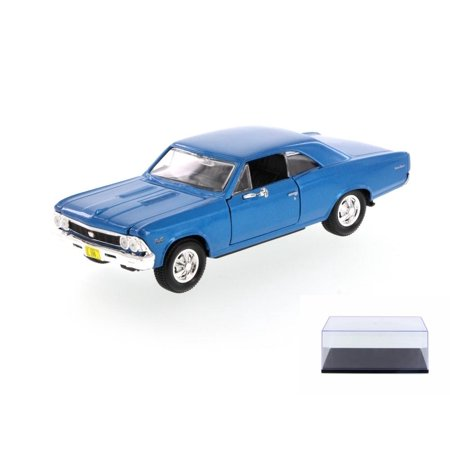 Chevrolet Chevelle Carpet - Diecast Car & Display Case Package - 1966 Chevrolet Chevelle SS396 Hard Top, Blue - Showcasts 34960 - 1/24 Scale Diecast Model Toy Car w/Display Case