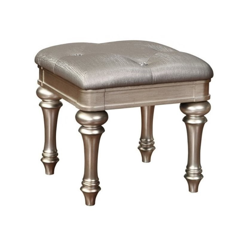 Bowery Hill Vanity Bench in Metallic Platinum by Bowery Hill