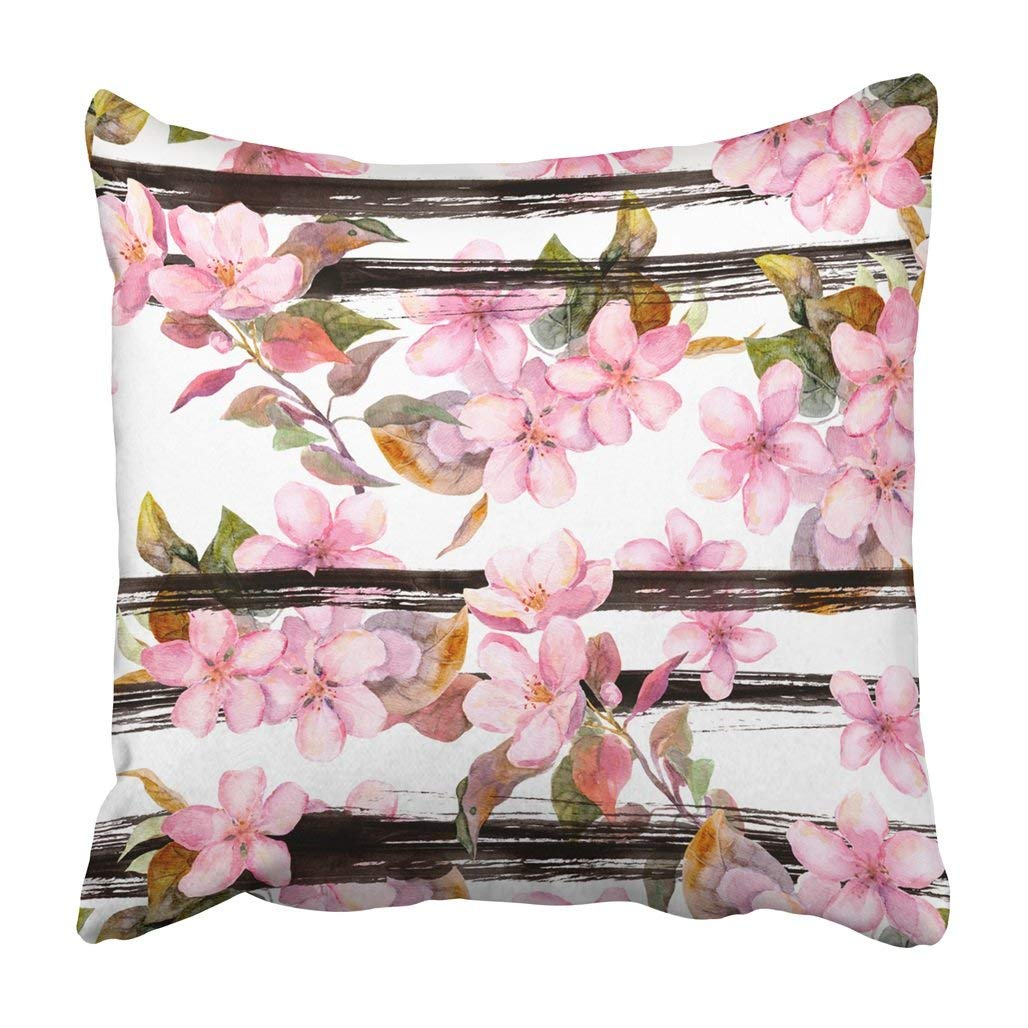 WOPOP White Pink Apple Flowers At Monochrome Striped Floral Spring Watercolor With Black Chic Pillowcase 16x16 inch
