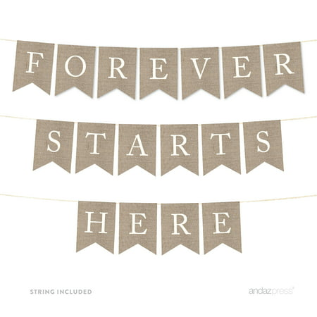 Forever Starts Here Burlap Wedding Pennant Party Banner