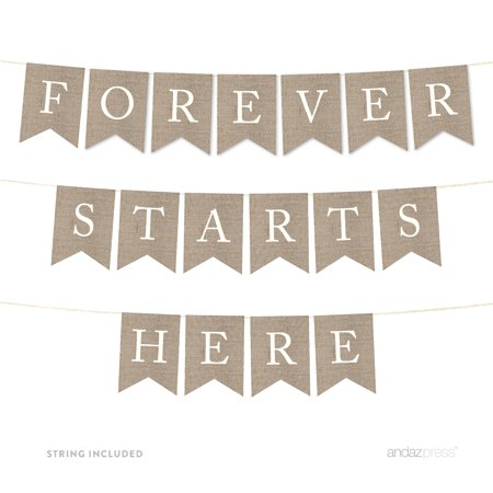 Forever Starts Here Burlap Wedding Pennant Party - Custom Wedding Banners