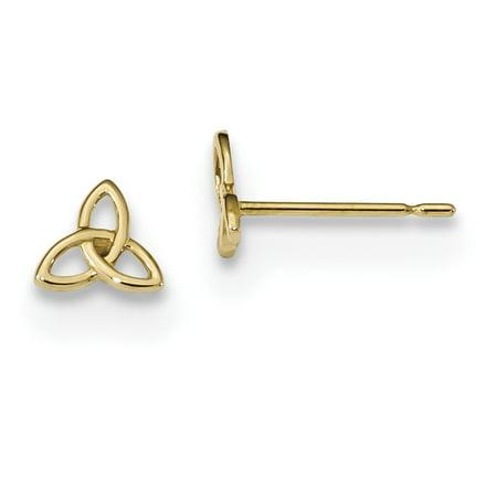 14k Yellow Gold Kids Irish Claddagh Celtic Knot Post Stud Earrings Ball Button