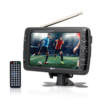 Axess 7 LCD TV with ATSC/NTSC Digital Tuner Built-in Rechargeable Battery and USB/SD Card
