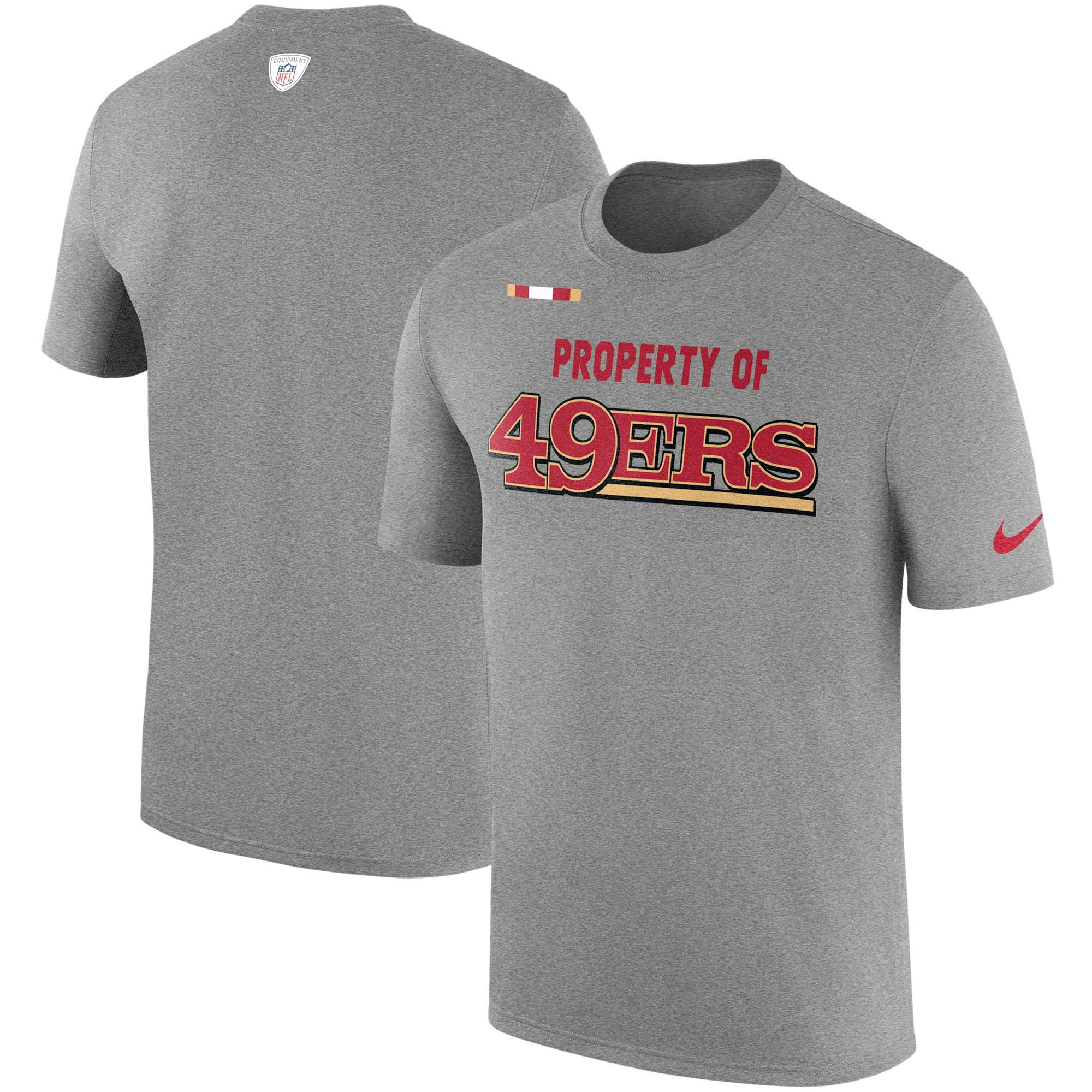 San Francisco 49ers Nike Sideline Property Of Facility T-Shirt - Heather Gray