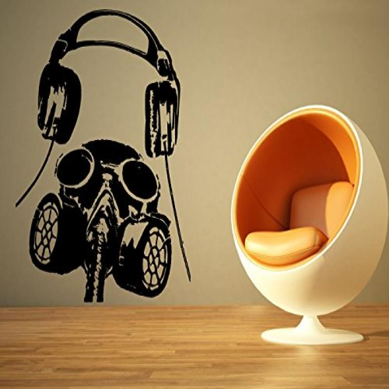 Wall Room Decor Art Vinyl Sticker Mural Decal Gas Mask Headphones Dj Edm AS1525 by