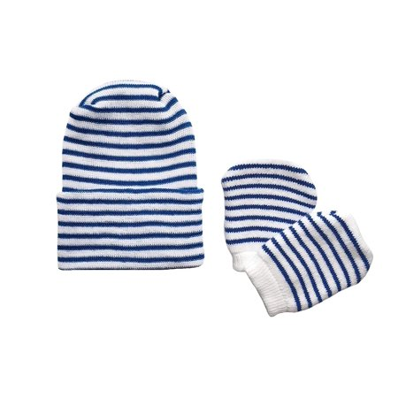 Newborn Baby Navy & White Striped Hospital Hat and Mitten Set by Nurses Choice](Nurses Hat)