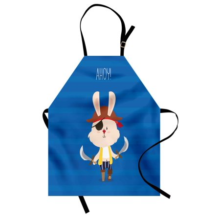 Ahoy Its a Boy Apron Pretty Pirate Rabbit Bunny with Eye Patch Funny Graphic Cartoon Illustration, Unisex Kitchen Bib Apron with Adjustable Neck for Cooking Baking Gardening, Multicolor, by Ambesonne