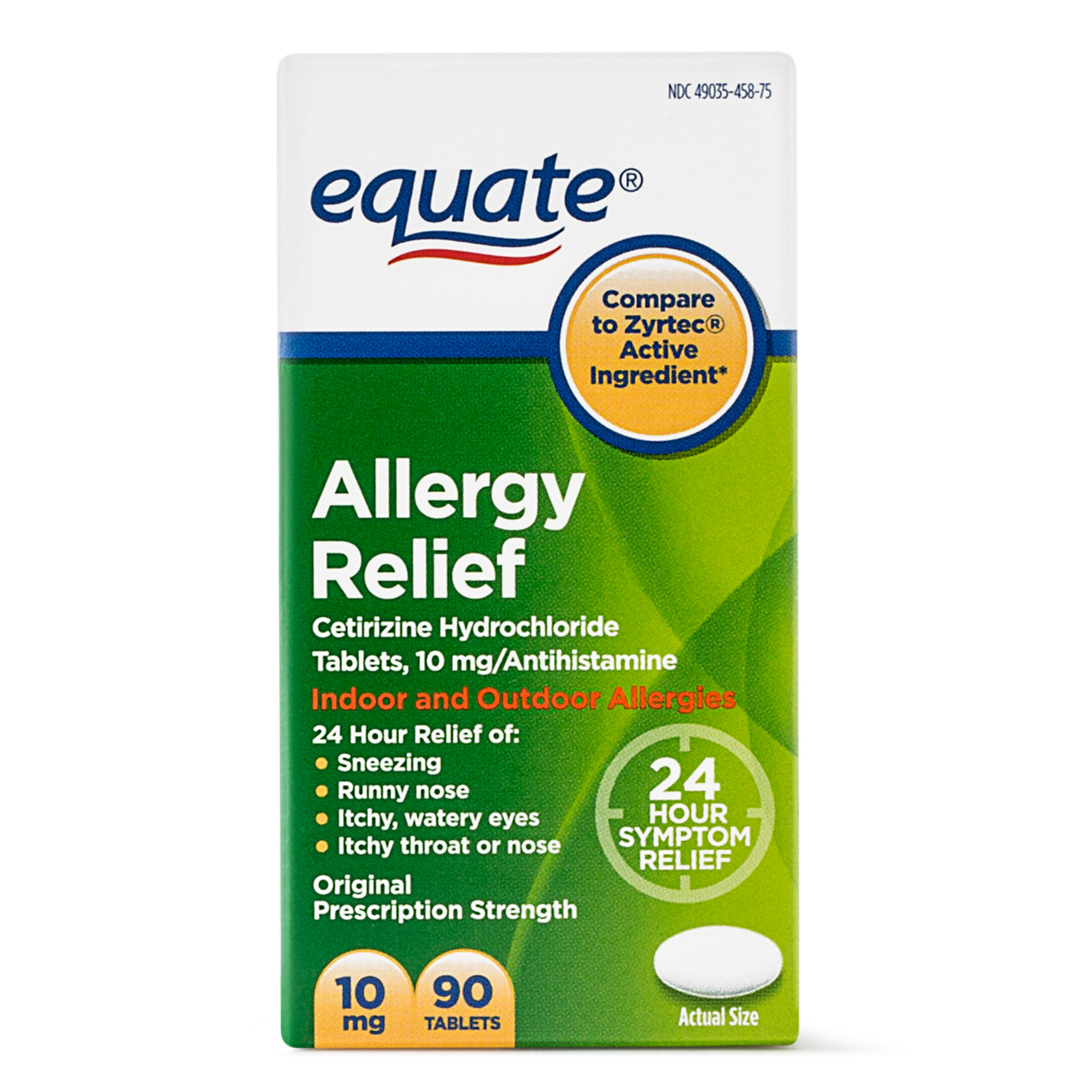 Equate Allergy Relief Cetirizine Antihistamine Tablets, 10 mg, 90 Ct