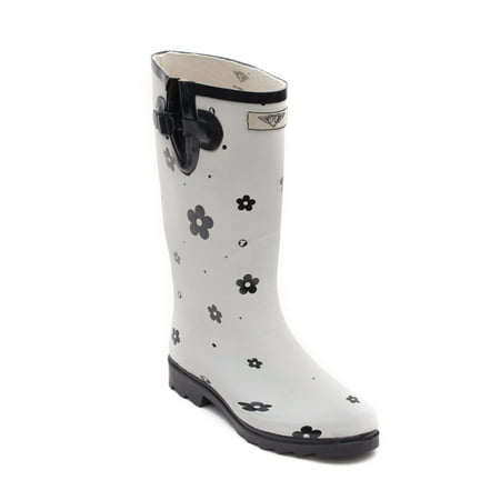 Women Rubber Rain Boots with Cotton Lining, White Flower Matte