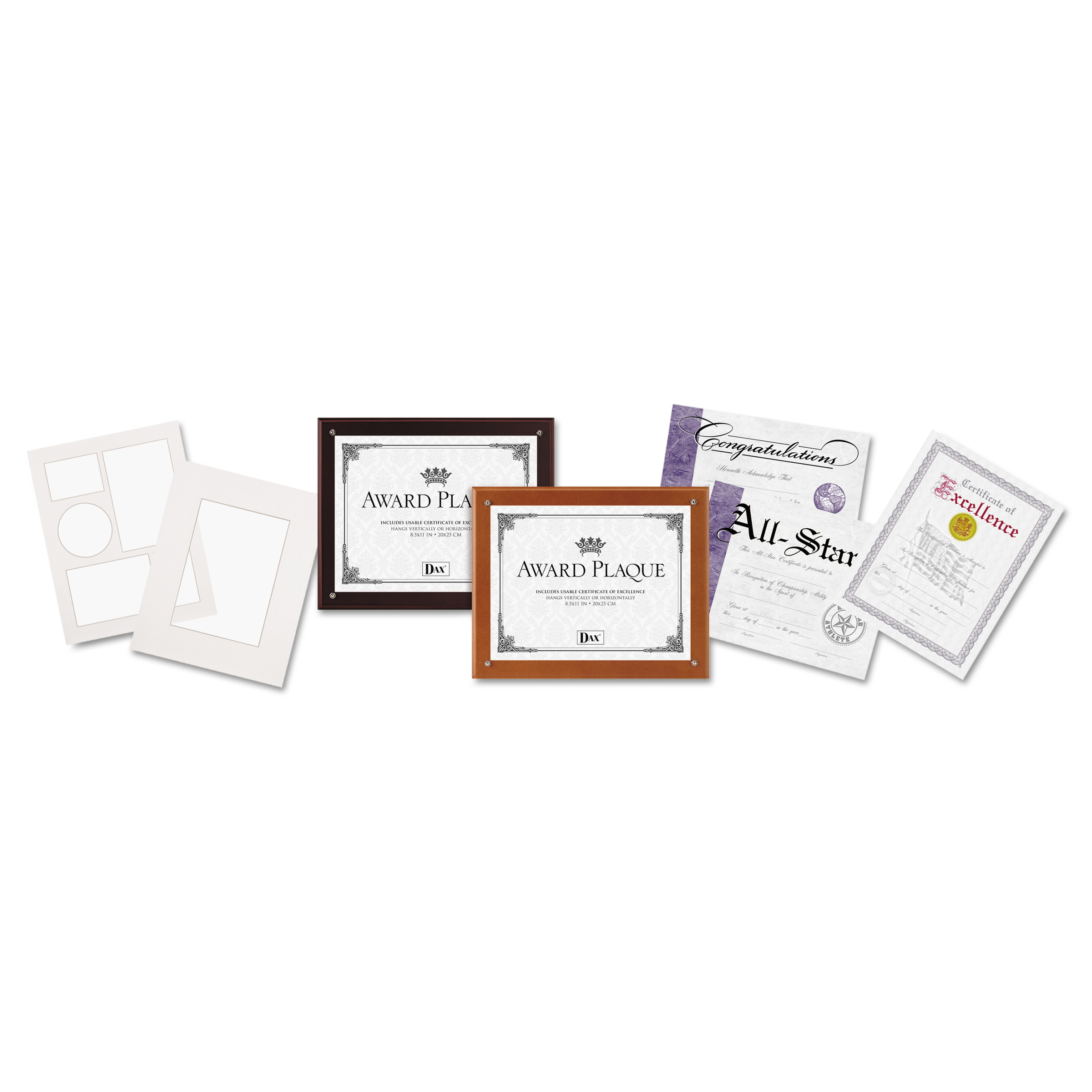 DAX Plaque-In-An-Instant Kit w Certs & Mats, Wood Acrylic Up to 8 1 2 x 11, Mahogany by DAX MANUFACTURING INC.