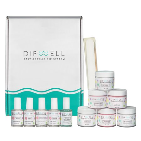 Dip Powder Nail Kit, Easy Acrylic Dipping and Gel Resin For Dip, Full System For French or Natural Set by DipWell Nails (Bond, Base, Activator, Sealer, Brush Softener + 6 Powder)](Fruit Dip Easy)