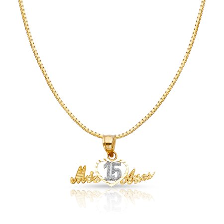 aa53cb32e Ioka - 14K Two Tone Solid Gold Sweet 15 Years Quinceanera Heart Mis 15 Anos  Charm Pendant with 1mm Box Chain Necklace - Walmart.com