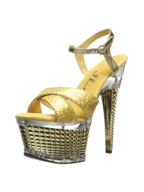d54e097b76 Product Image Women's 6 Inch Stiletto Heel Textured Platform Sandal Shoes  Crossed Strap Gold. SummitFashions
