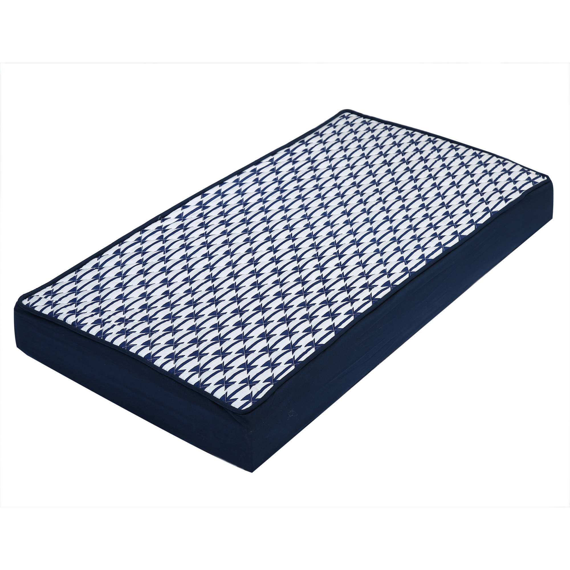 Bacati - Aztec Kilim Quilted Top 100% Cotton Percale with Polyester Batting Diaper Changing Pad Cover, Navy