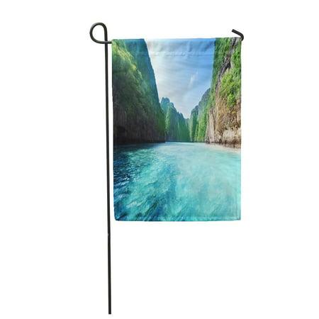 LADDKE Blue Ocean Bay at Phi Island in Thailand Green Beach Mountain Sea Krabi Thai Garden Flag Decorative Flag House Banner 12x18 inch ()